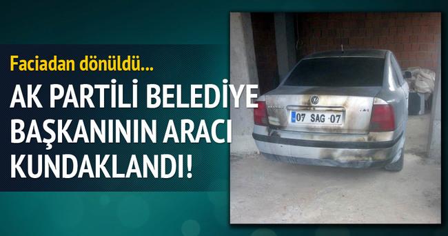AK Parti'li belediye başkanının aracı kundaklandı