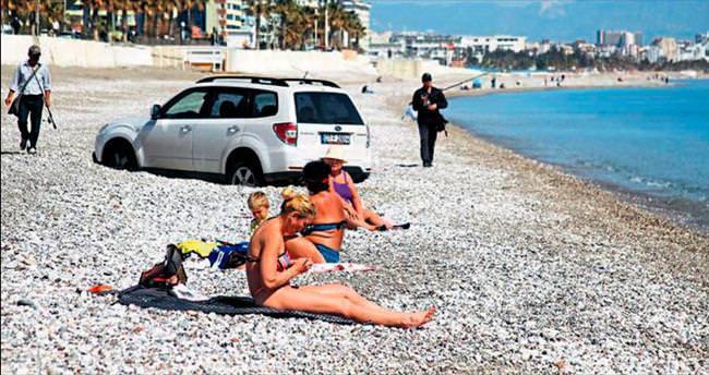 Keyif yapacakken plaja saplandı
