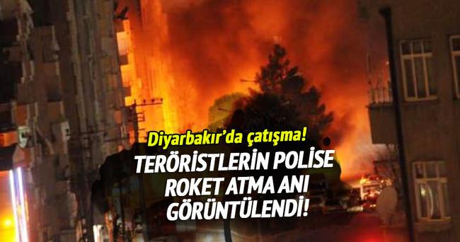 Teröristlerin polise roket atma anı görüntülendi