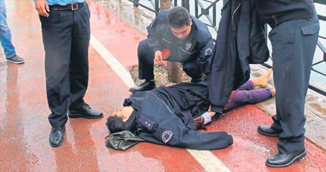 Ölüme atlayan kadını komiser Aras kurtardı