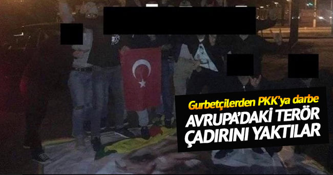 Brüksel'deki PKK çadırı yakıldı