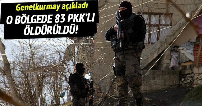 Genelkurmay açıkladı: 83 PKK'lı öldürüldü!