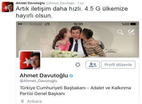 Davutoğlu'ndan 4.5G mesajı