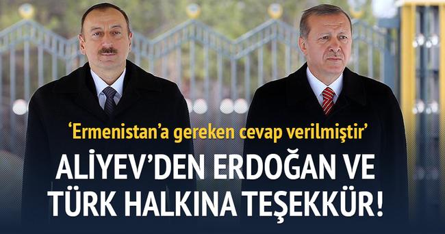 Aliyev'den Erdoğan ve Türk halkına teşekkür