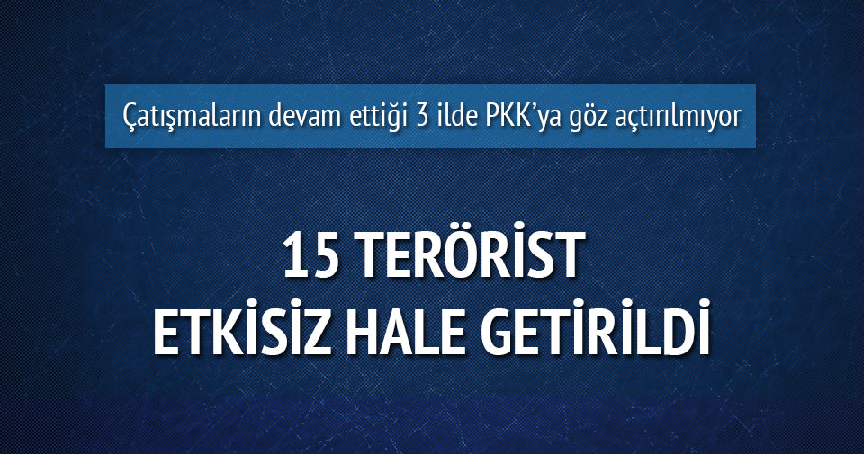 Mardin, Şırnak ve Hakkari'de 15 terörist etkisiz hale getirildi