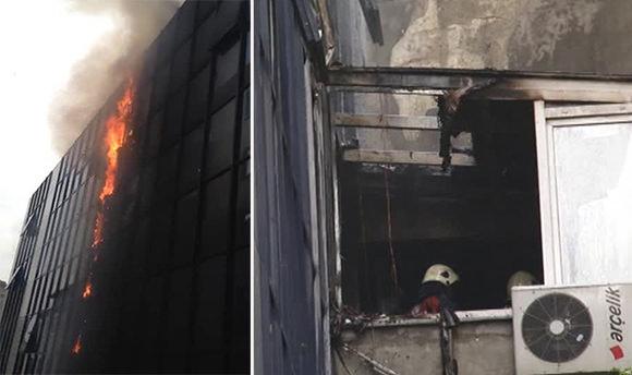Şişli'de 10 katlı plaza'da yangın paniği!