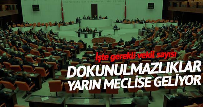 Milletvekili dokunulmazlığı yarın Meclis'e geliyor