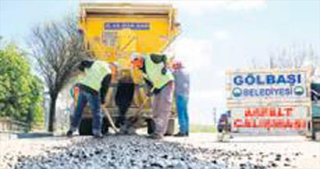 Gölbaşı'nda asfalt çalışması başladı