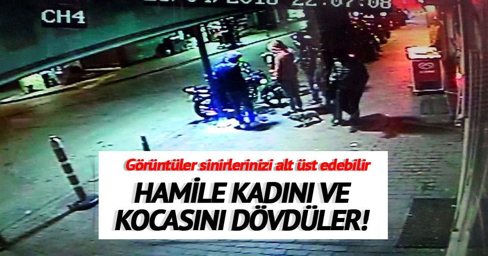 Hamile kadını ve kocasını sokak ortasında dövdüler!