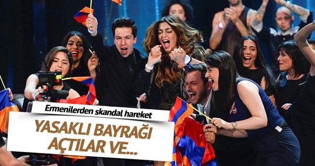 Eurovision'da sözde Dağlık Karabağ bayrağı dalgalandırdı