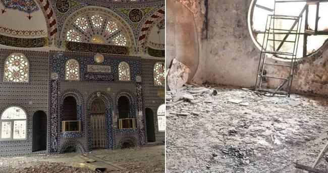Kaçarken cami ve okulları ateşe verdiler