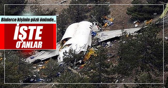 Uçak binlerce kişinin gözleri önünde yere çakıldı