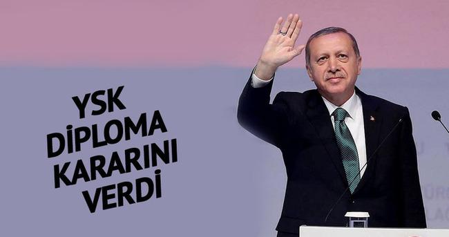 YSK Erdoğan'ın diplomasıyla ilgili kararını verdi!