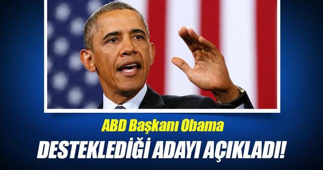 Obama desteklediği adayı açıkladı!
