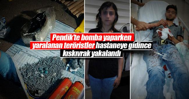 Patlayıcı atarken yaralanan teröristler hastanede yakalandı