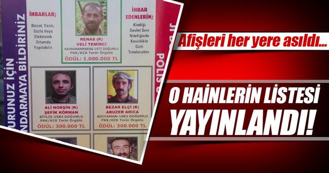 O teröristlerin listesi yayınlandı!