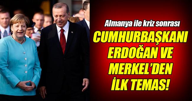 Erdoğan ve Merkel'den kriz sonrası ilk temas!