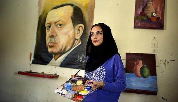 Gazzeli kadından Erdoğan portresi