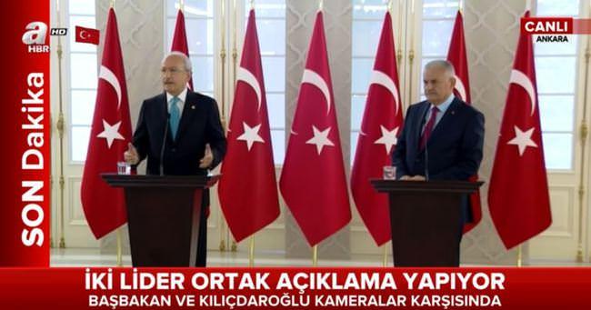 Başbakan Binali Yıldırım ve Kılıçdaroğlu'ndan ortak basın toplantısı