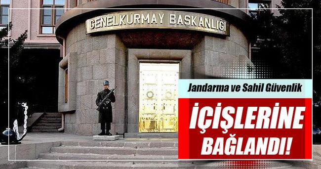 Jandarma ve Sahil Güvenlik Komutanlığı İçişleri Bakanlığına bağlandı.