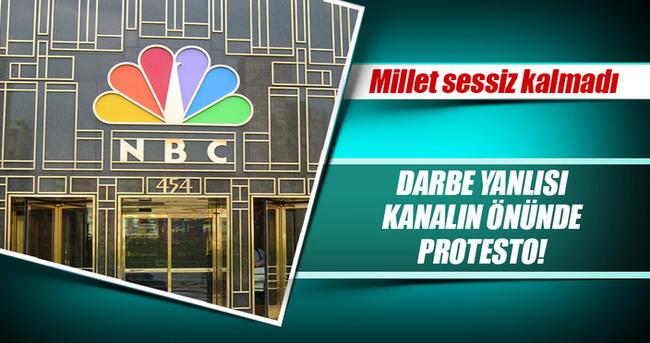 Darbe yanlısı NBC önünde protesto gösterisi