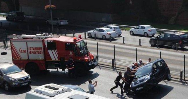 Mecidiyeköy'de kaza sonrası trafik felç oldu