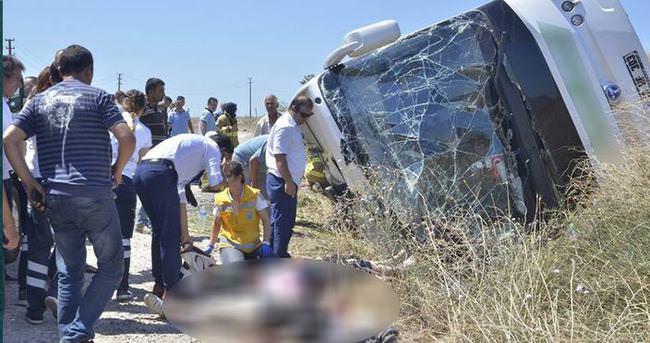 İşçileri taşıyan otobüs şarampole yuvarlandı