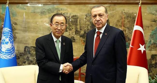 Cumhurbaşkanı Erdoğan, BM Genel Sekreteri Ban Ki-mun'la görüştü