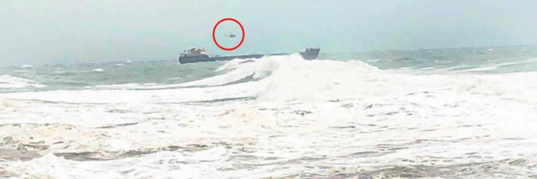 Sürüklenen gemiye helikopterli operasyon