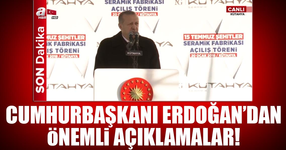Cumhurbaşkanı Erdoğan 15 Temmuz Şehitleri Seramik Fabrikası açılış töreninde konuşuyor