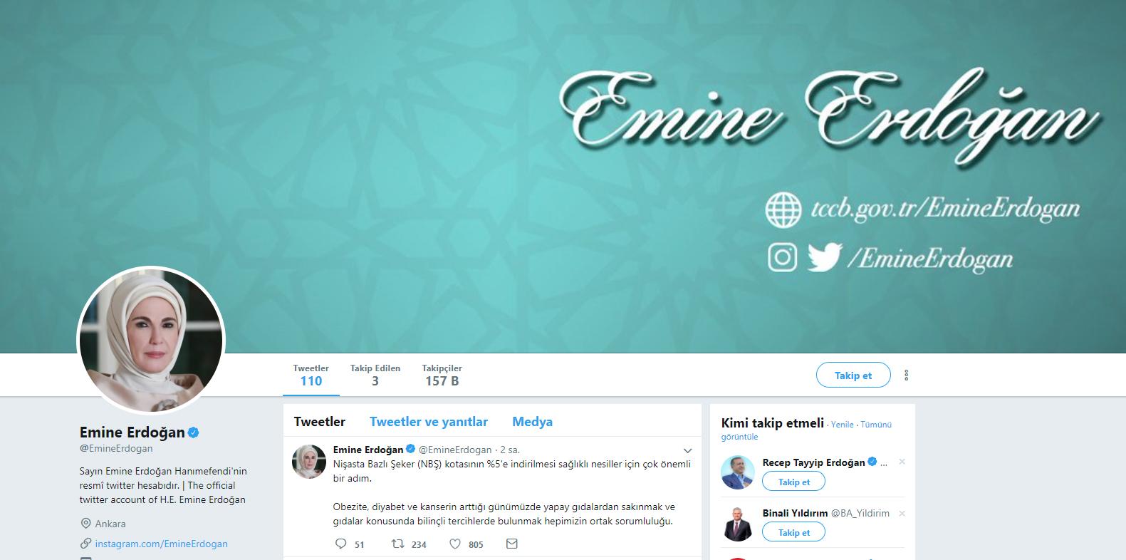 Cumhurbaşkanı Erdoğan'ın eşi Emine Erdoğan'dan