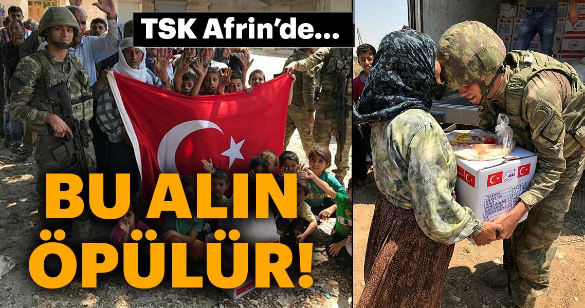 Mehmetçik Afrin'de halkın yaralarını sarıyor...