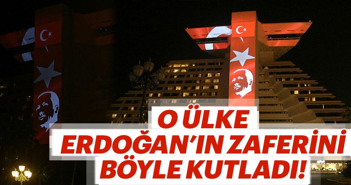 Katar'daki Sheraton Oteli Türk bayrağıyla aydınlatıldı