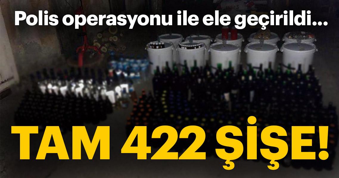 Balıkesir'de evde 422 şişe sahte içki ele geçirildi