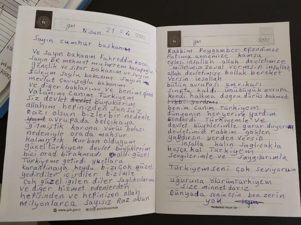 Karantinadaki vatandaşlardan duygu dolu mesajlar