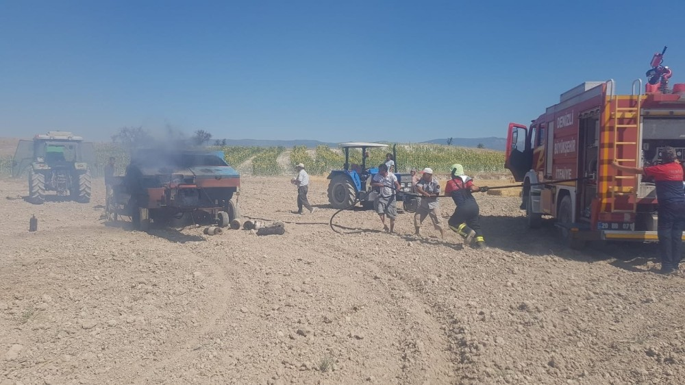 Denizli'de balya makinesinden çıkan yangın 30 dönüm araziyi küle çevirdi
