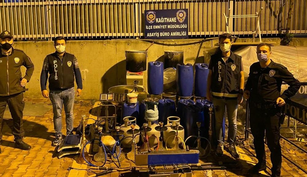 Kağıthane'de kaçak nargile tütünü imalathanesine operasyon