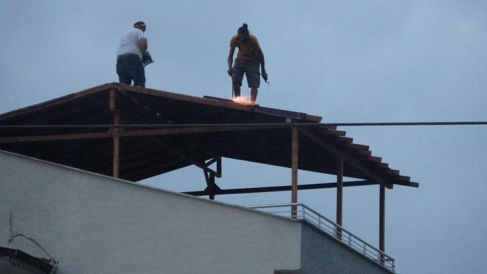 Özel 20 metrede maskeyi çıkarmadılar ama iş güvenliğini hiçe saydılar