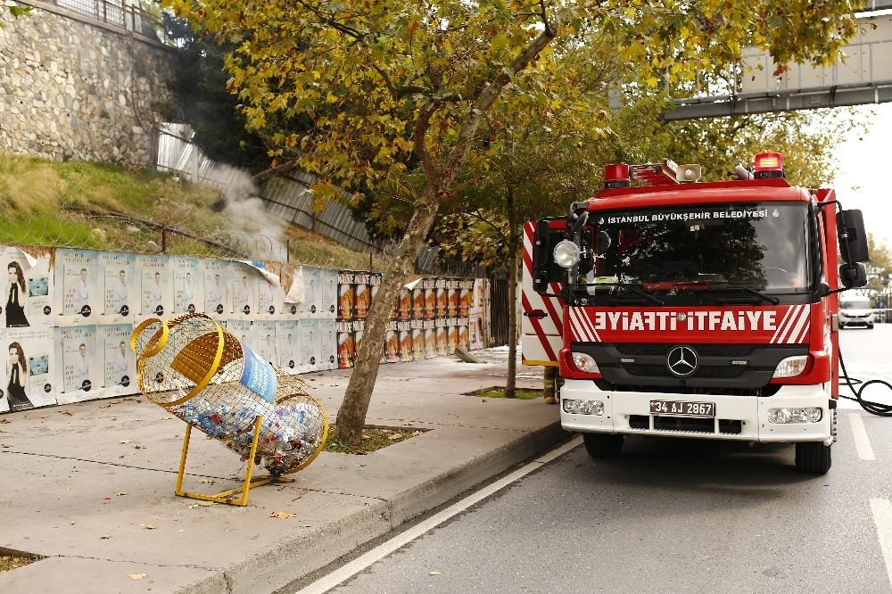 Beşiktaş'ta yer altındaki elektrik kablolarından dolayı yangın çıktı