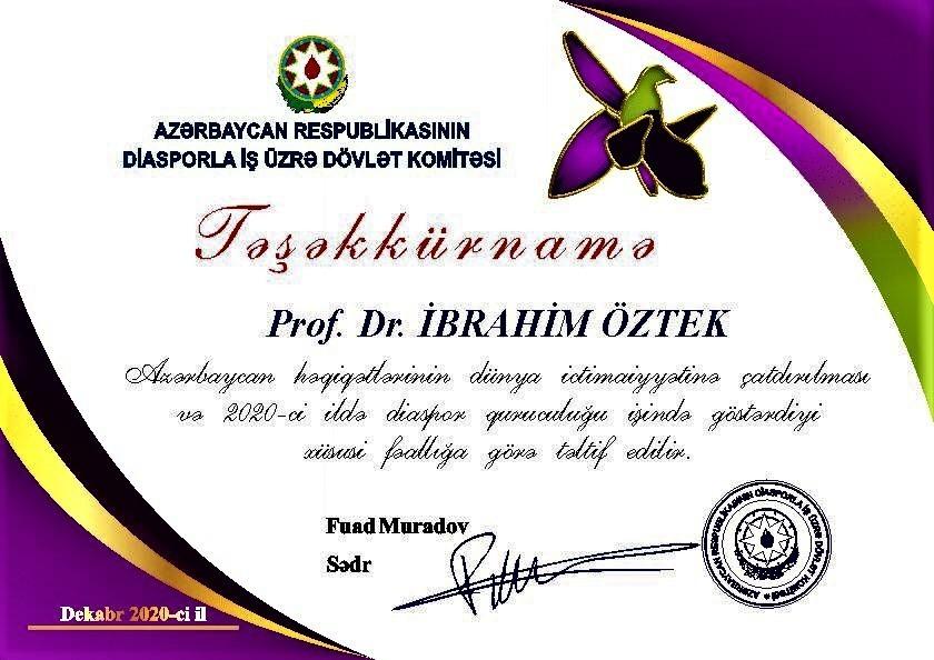 """Prof. Dr. İbrahim Öztek'e Azerbaycan'dan """"Teşekkürname"""""""