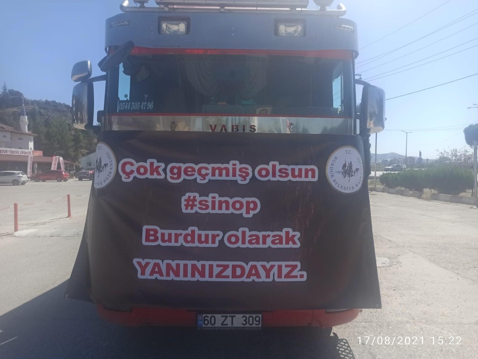 Burdur Belediyesinden Sinop'a yardım eli