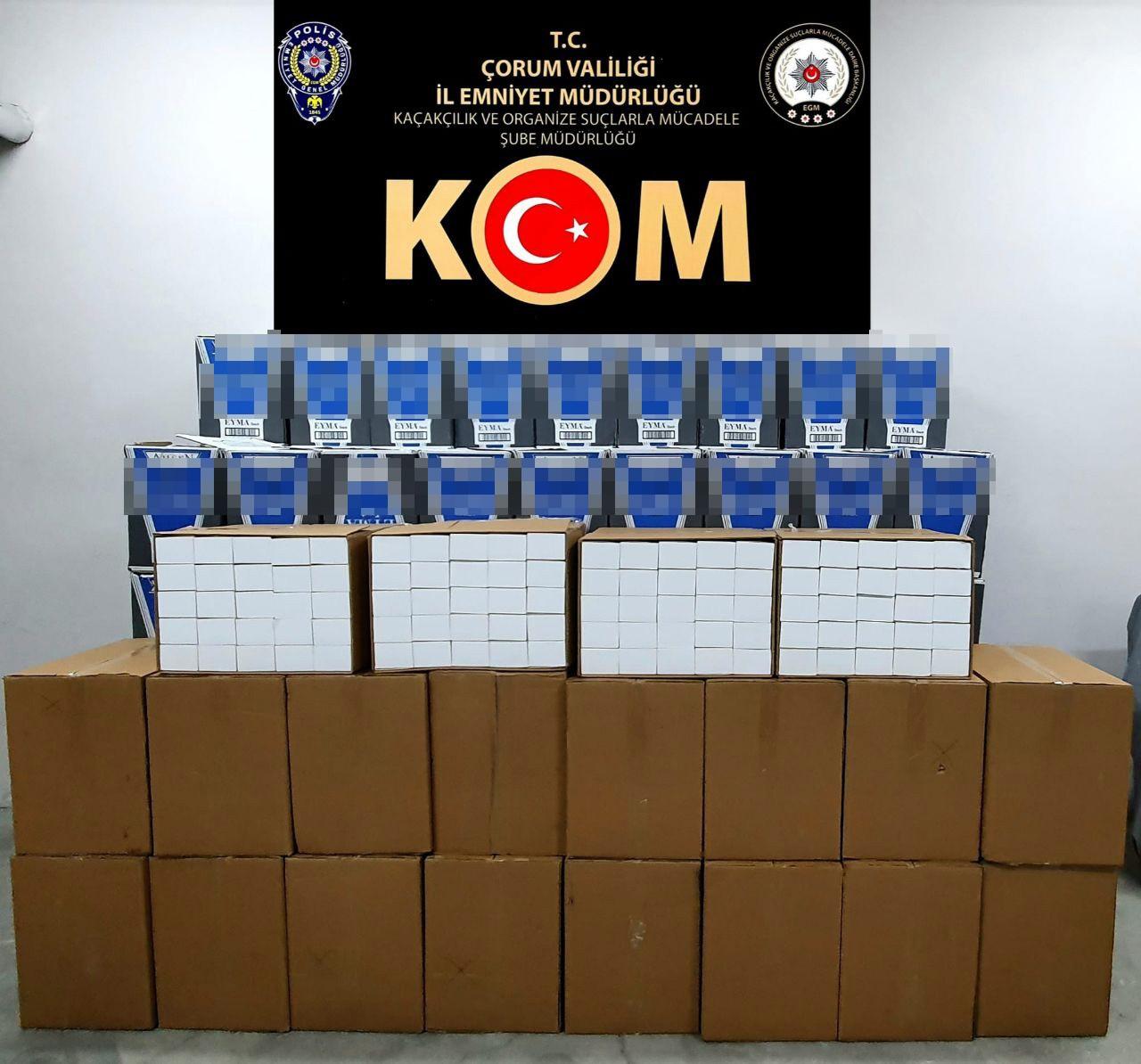 Çorum'da 1 milyon 30 bin kaçak makaron ele geçirildi #corum