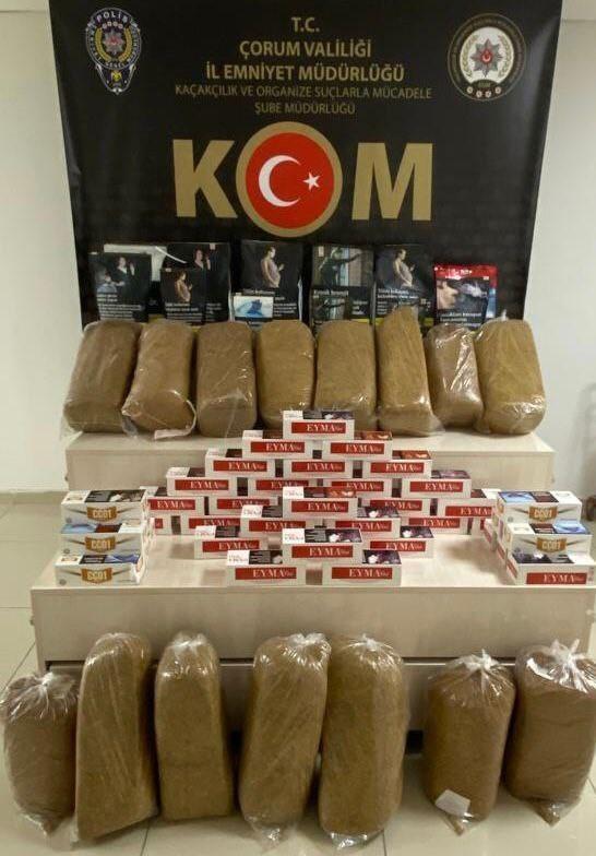 Çorum'da 14 bin 400 adet kaçak makaron ele geçirildi #corum