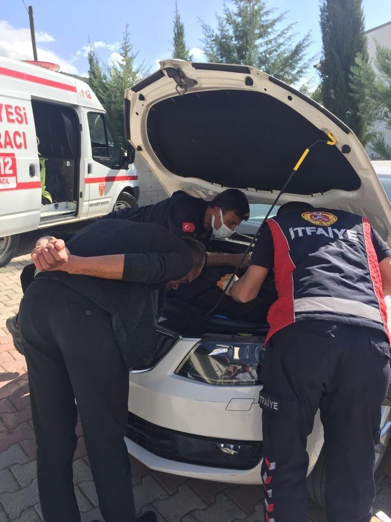 Otomobilin motoruna giren yavru kedi güçlükle çıkartıldı #burdur
