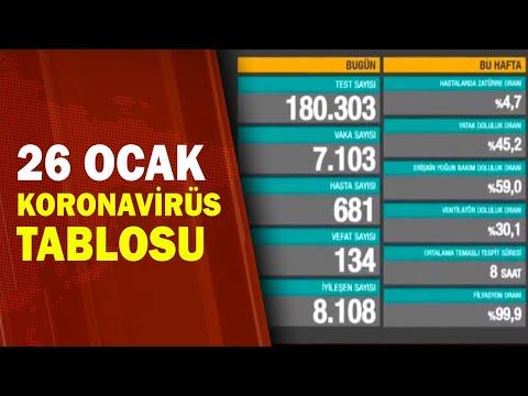 Türkiye'nin 26 Ocak Koronavirüs Bilançosu